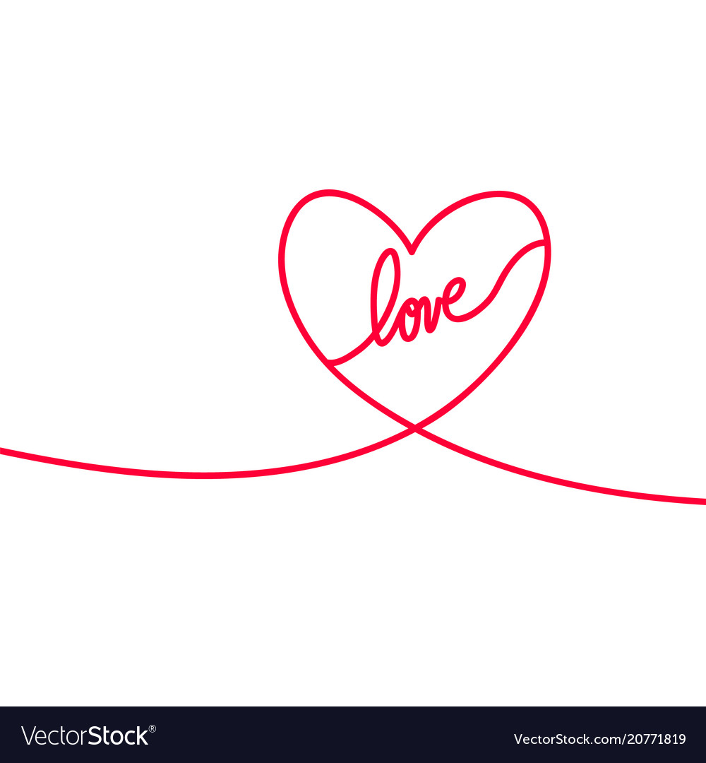 Heart and love in continuous drawing lines in a