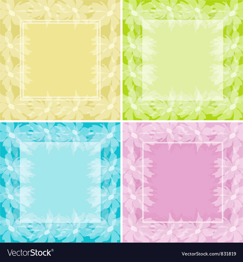 Set Abstract Floral Backgrounds Royalty Free Vector Image