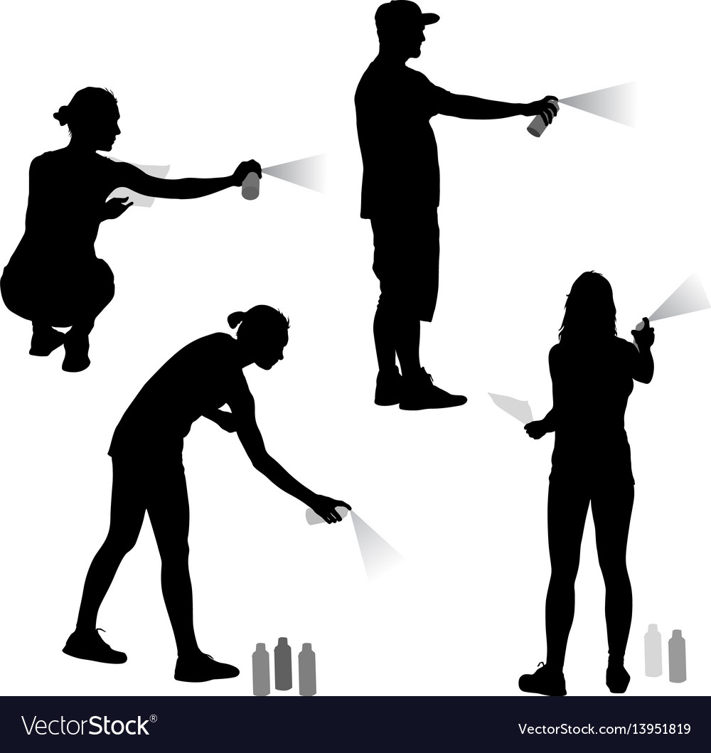 Set silhouette man and woman holding a spray on a