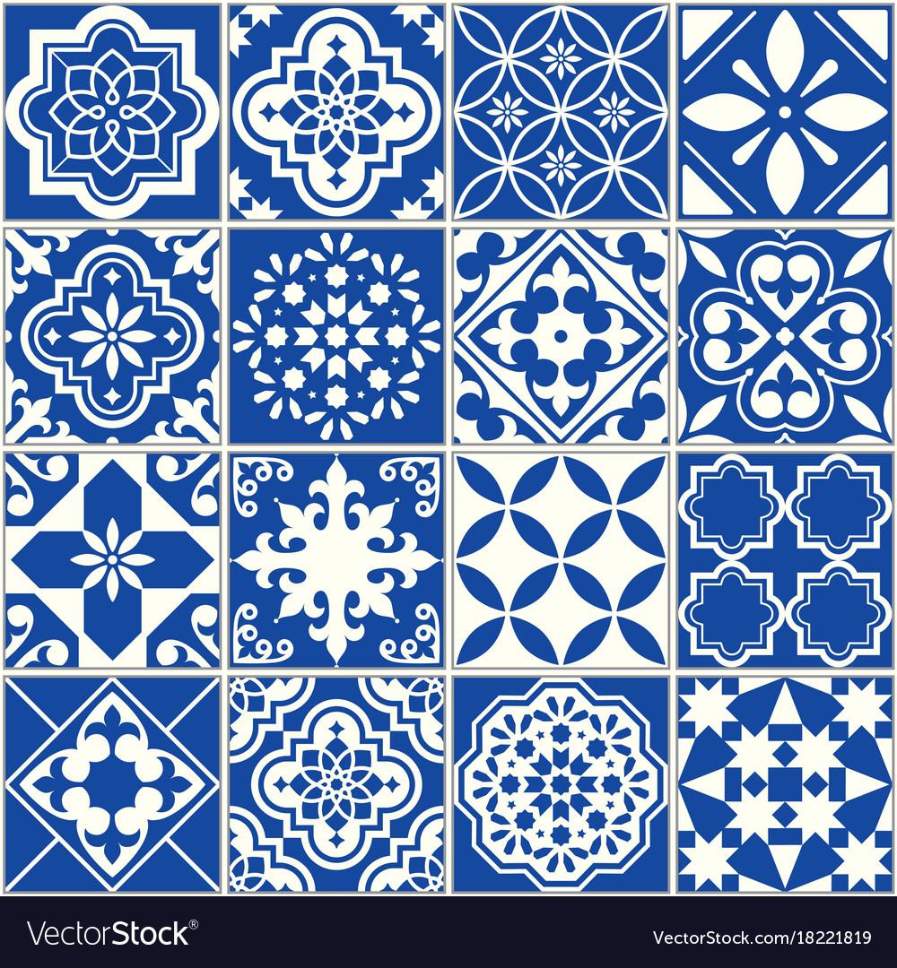 Spanish or portuguese tile pattern lisbon Vector Image