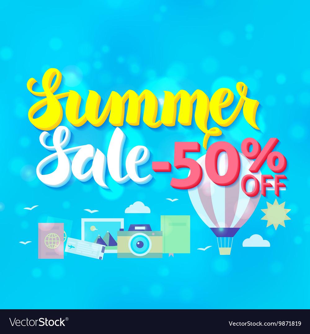 Summer Sale 50 Off Lettering over Blue Blurred vector image