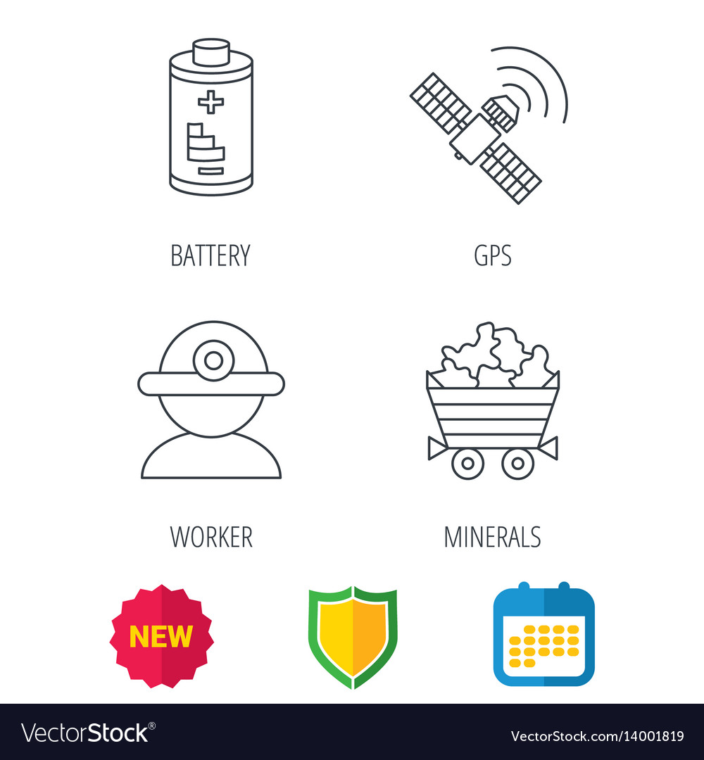 Worker minerals and gps satellite icons
