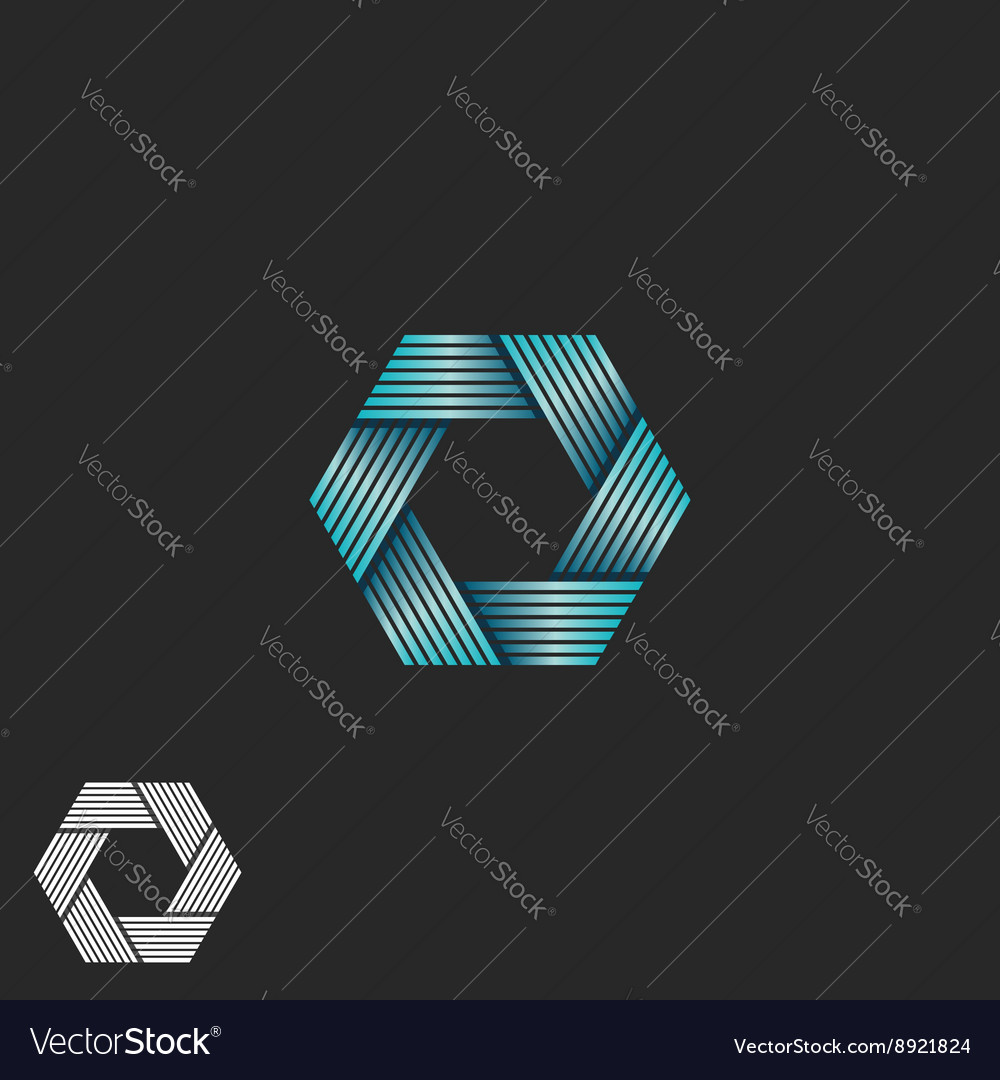 Abstract intersection blue gradient lines logo vector image