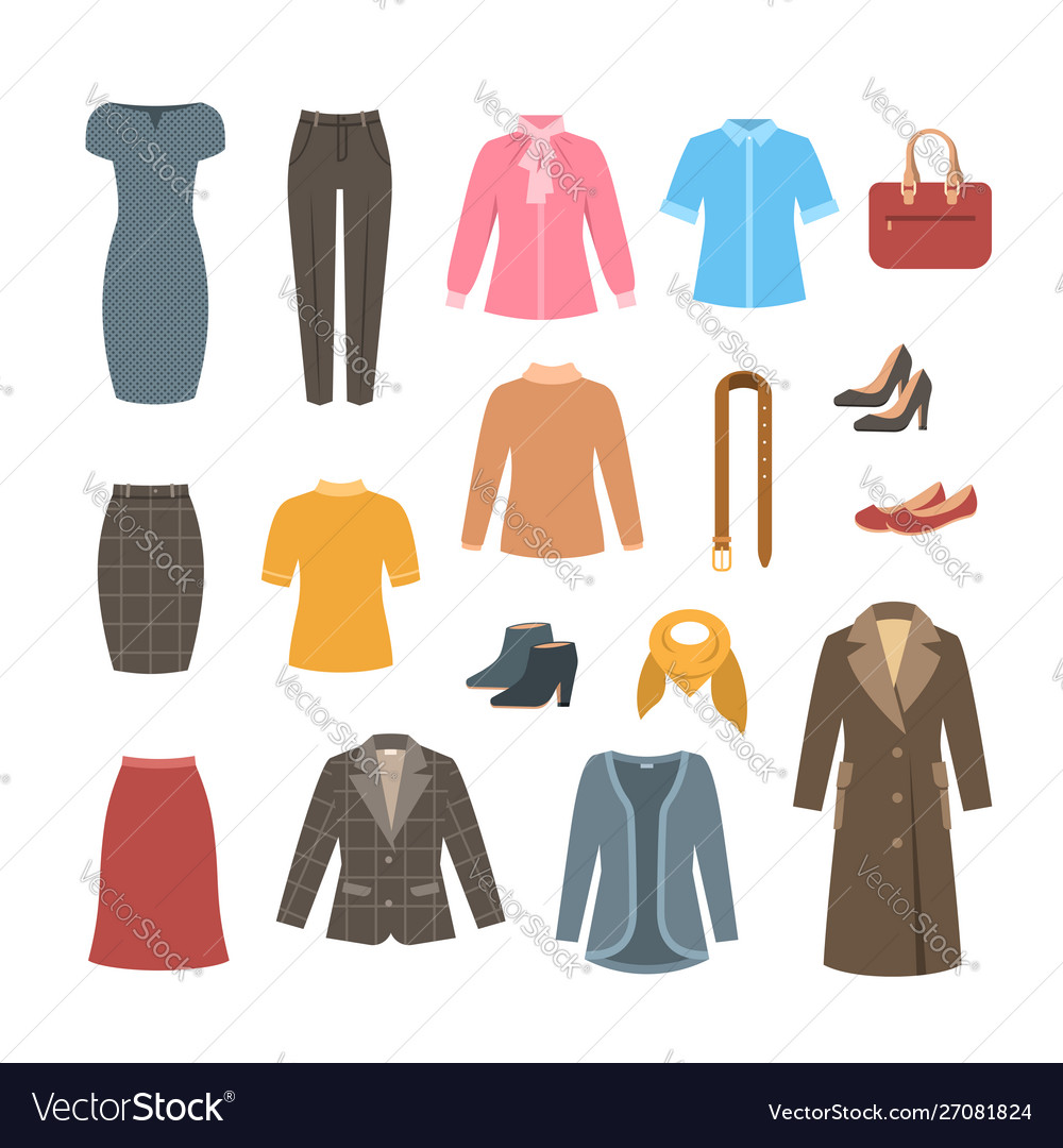 Business woman basic clothes and shoes collection