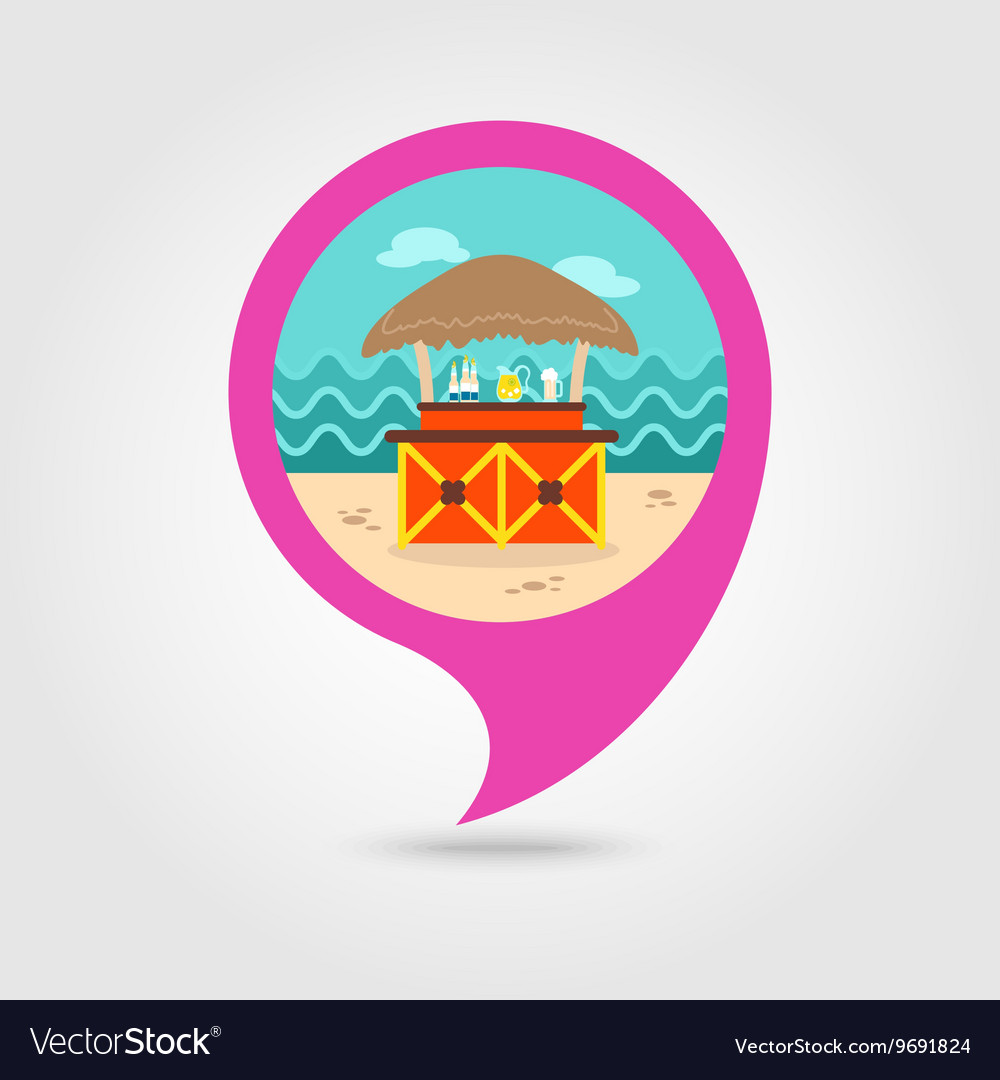 Cafe Bar bungalows on the beach pin map icon
