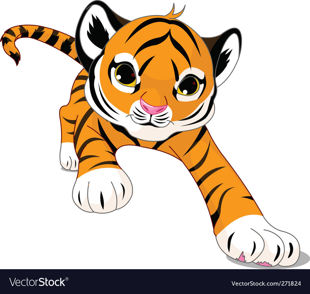 cartoon baby tiger royalty free vector image vectorstock rh vectorstock com tiger cartoon pic tiger animated images