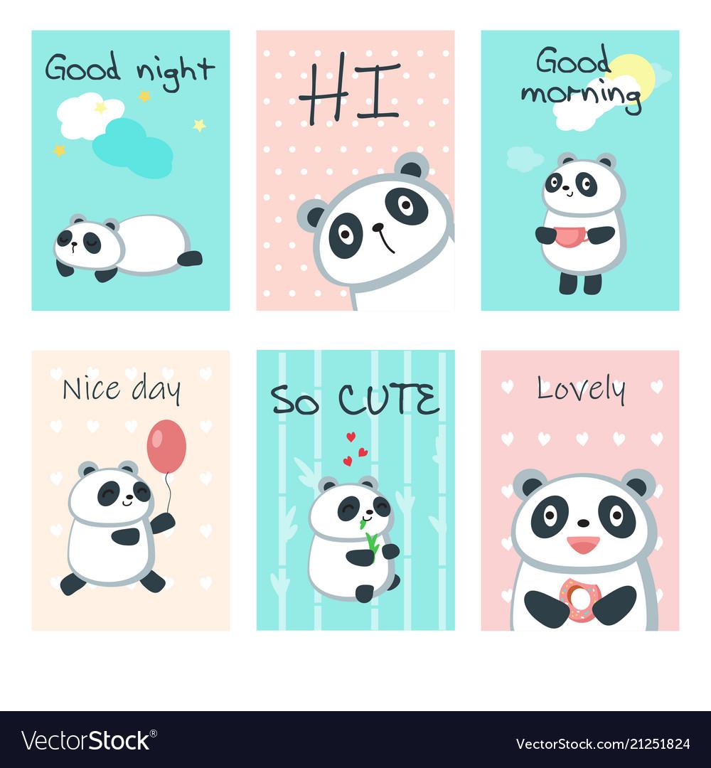 Cute panda cards template set