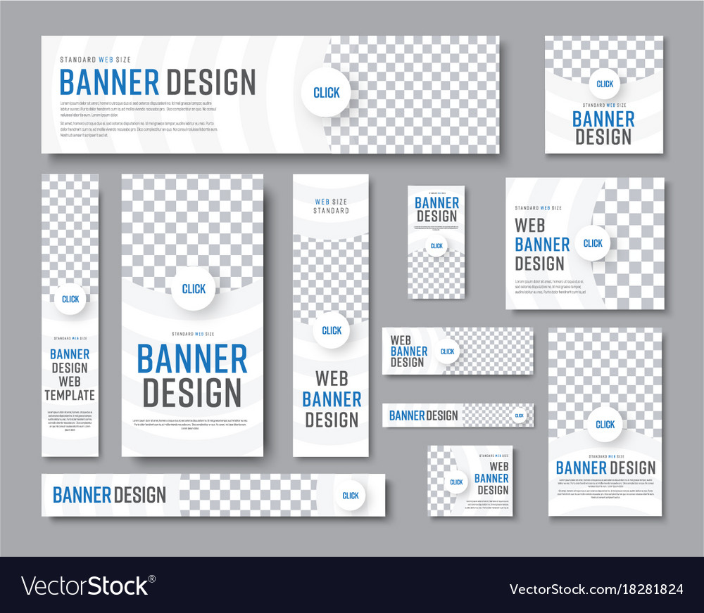 Design of white banners of standard sizes with a