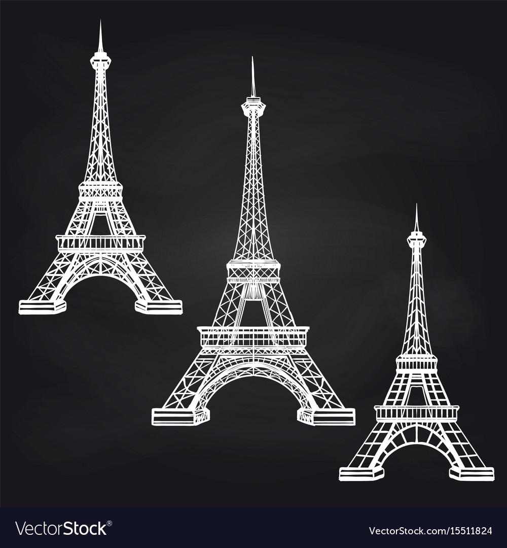 Eiffel towers set on chalkboard