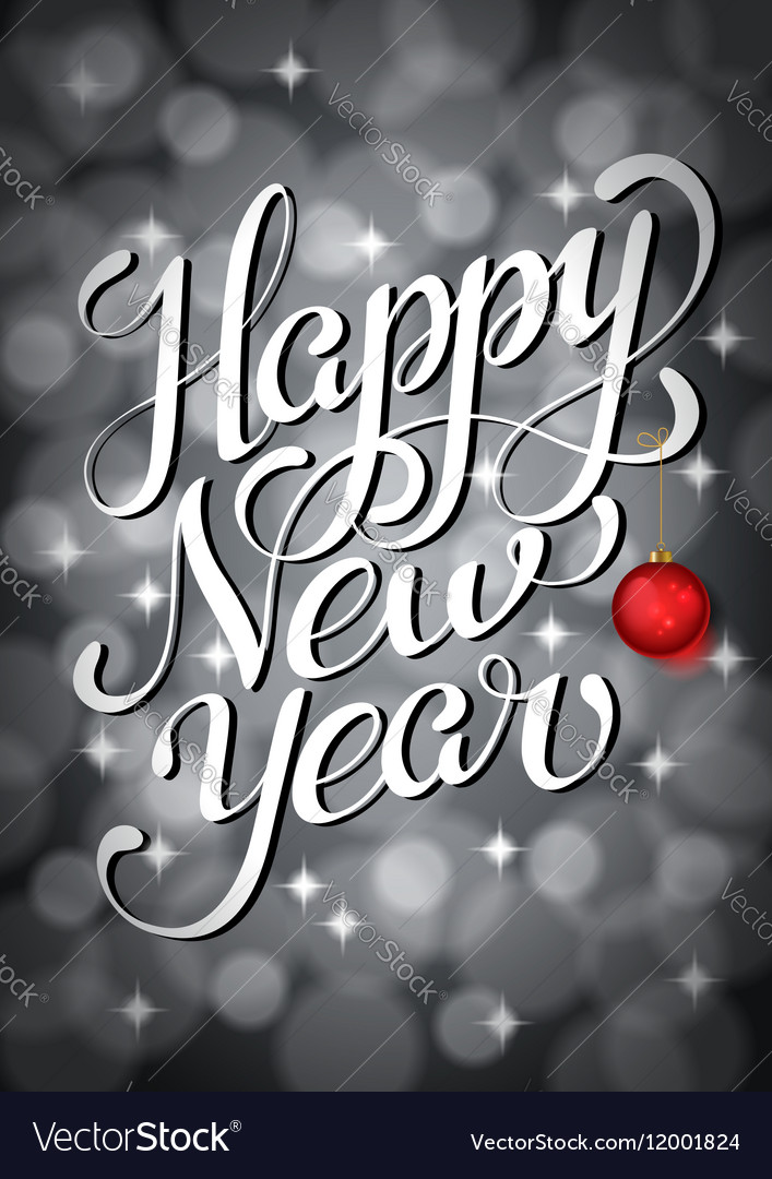 Happy new year lettering on silver bokeh retro