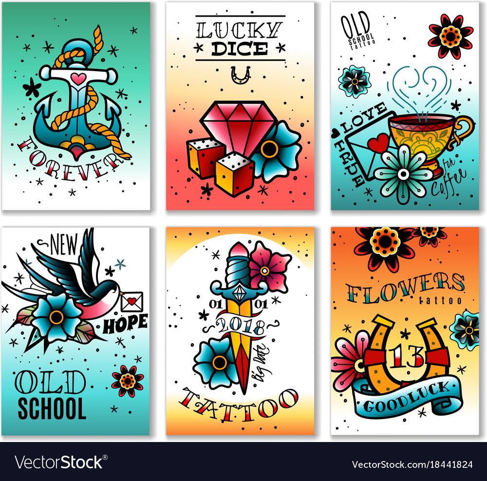 Old school tattoo cards set