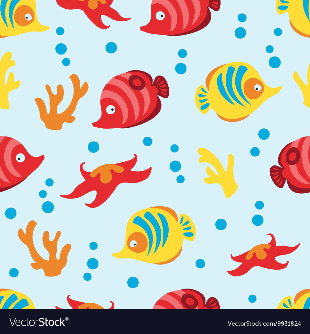 Seamless pattern with sea life on blue background