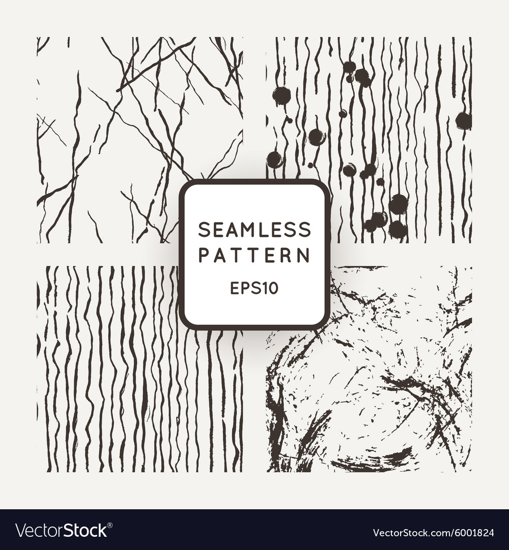 Set of seamless patterns with grungy hand
