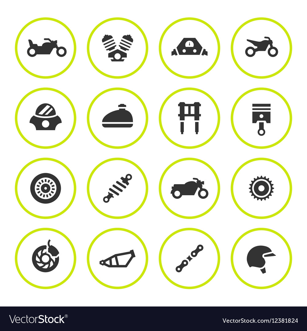 Set round icons of motorcycle
