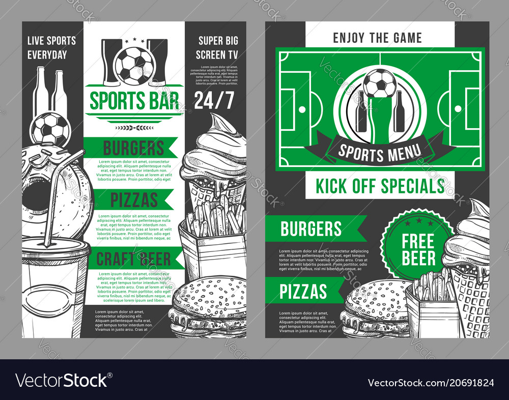 Soccer sports bar football pub menu design