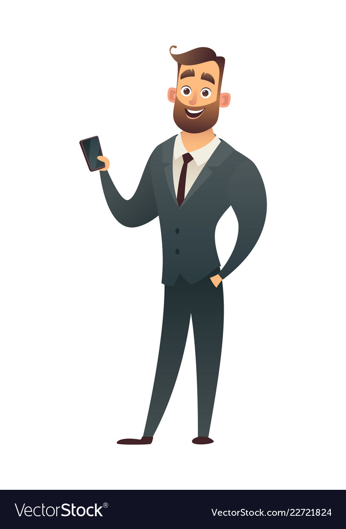 Successful beard businessman with phone business Vector Image