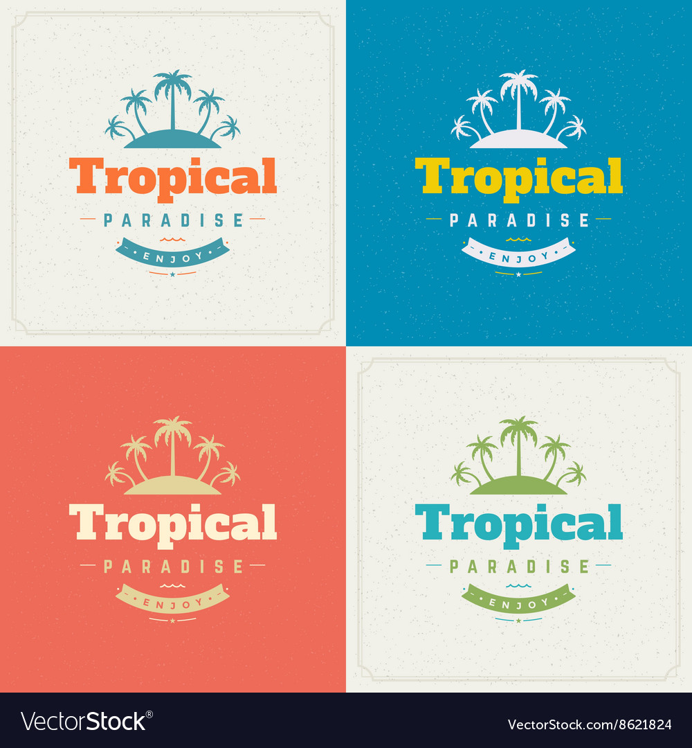 Summer Holidays Retro Typography Labels or Badges