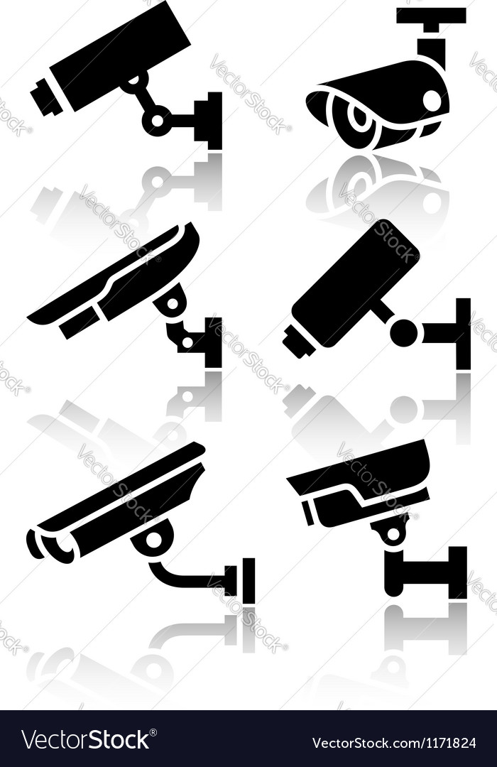 Video surveillance new big set stickers vector image
