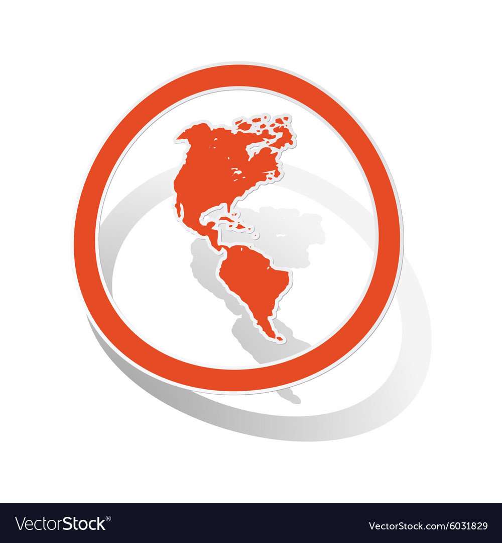 American continents sign sticker orange