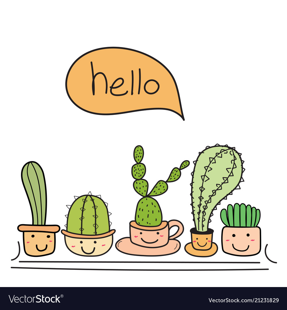 Cute cactus with happy face say hello