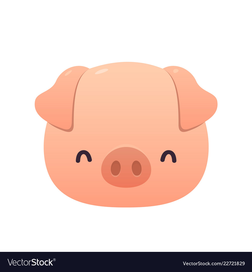 cute pink pig in cartoon style on white background