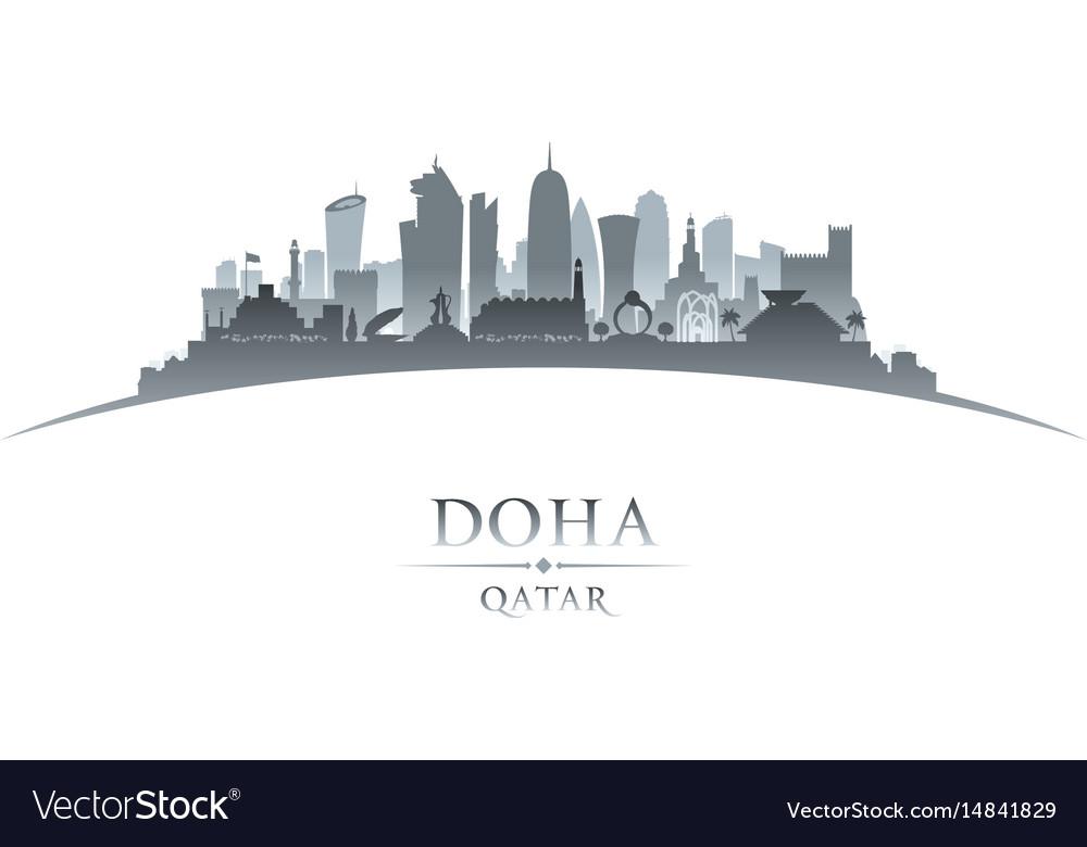 Doha qatar city skyline silhouette white