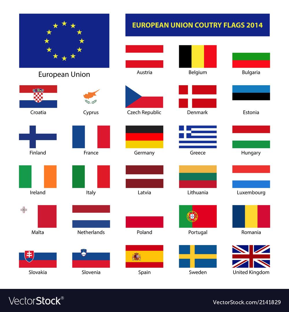 European Union Country Flags 2014 Member States Eu