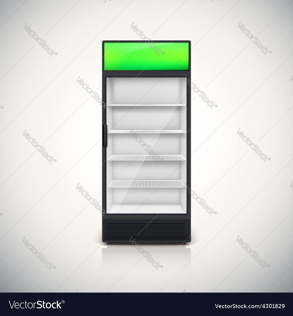 Fridge With Glass Door Vector Image