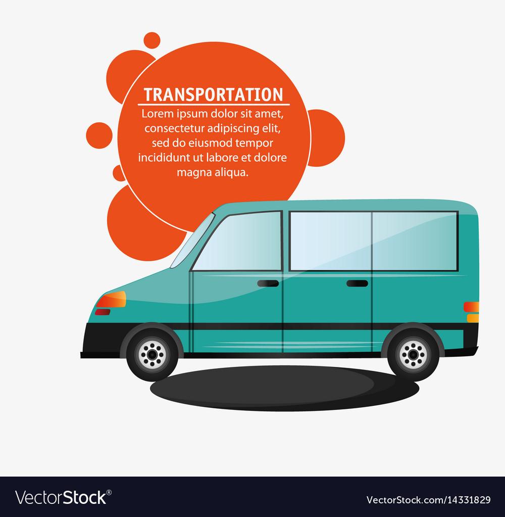 Green van vehicle transport vector image