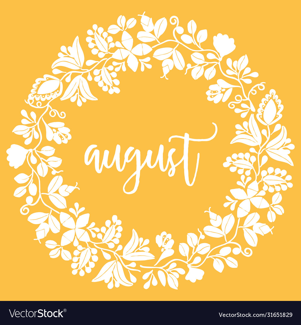 Hand drawn august sign with wreath on yellow