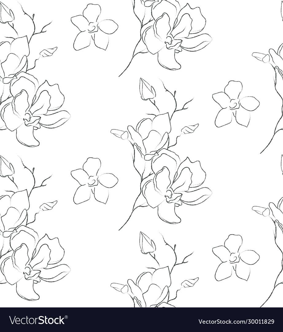Line drawing floral seamless pattern