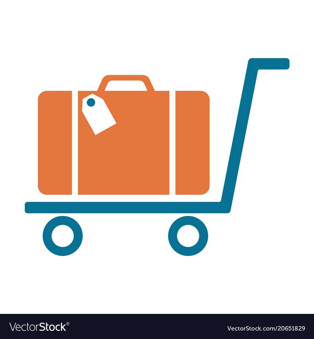 Luggage trolley flat icon
