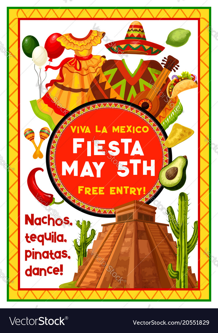 Mexican holiday party invitation of cinco de mayo vector image