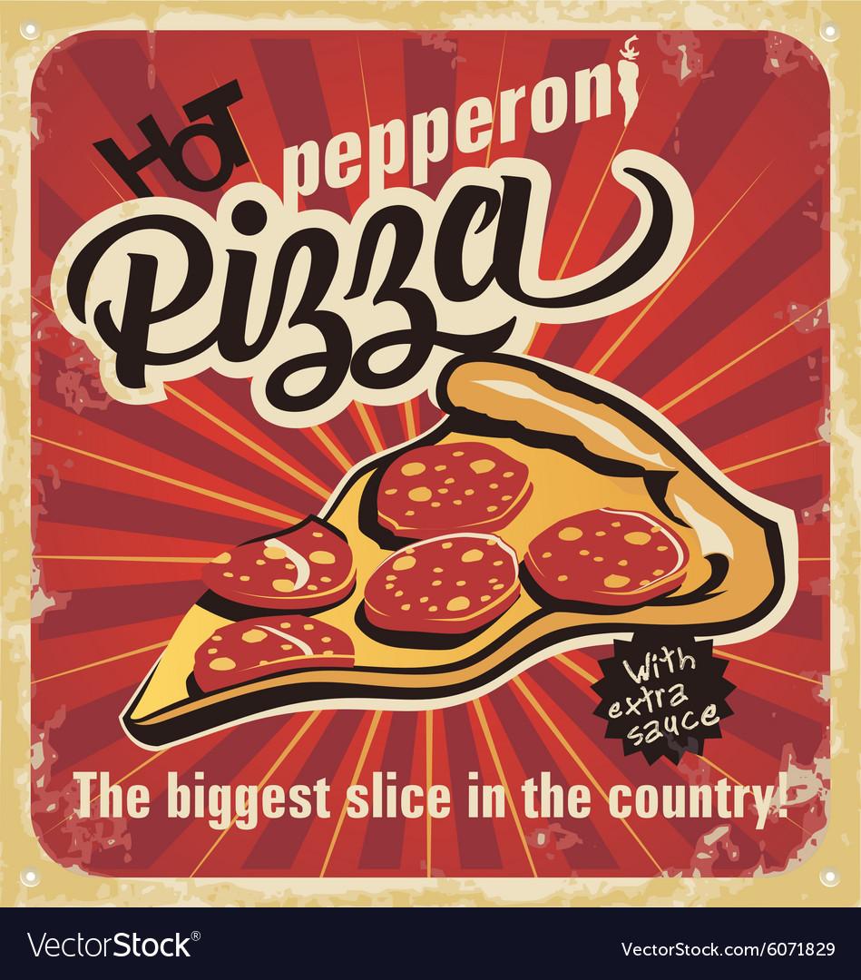 Retro pizza sign logo poster