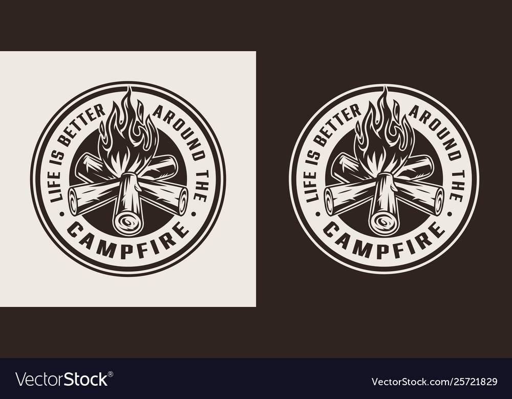 Vintage summer camping round label