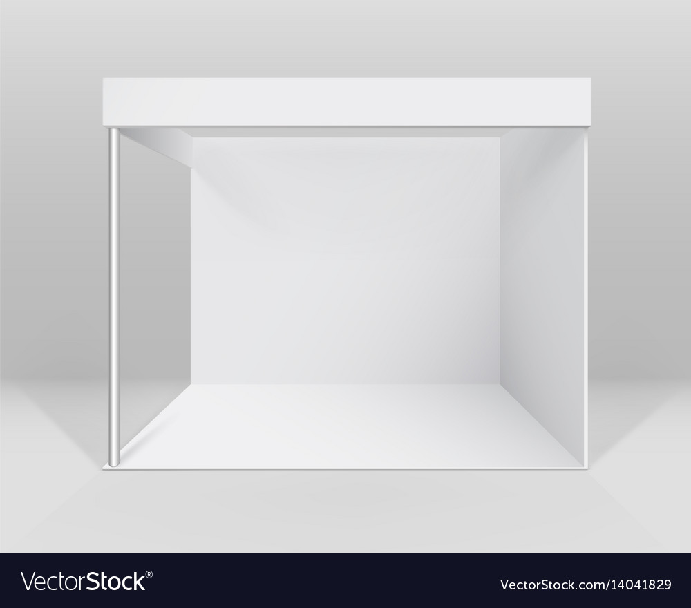 Exhibition Stand Free Mockup : White indoor trade exhibition booth stand vector image