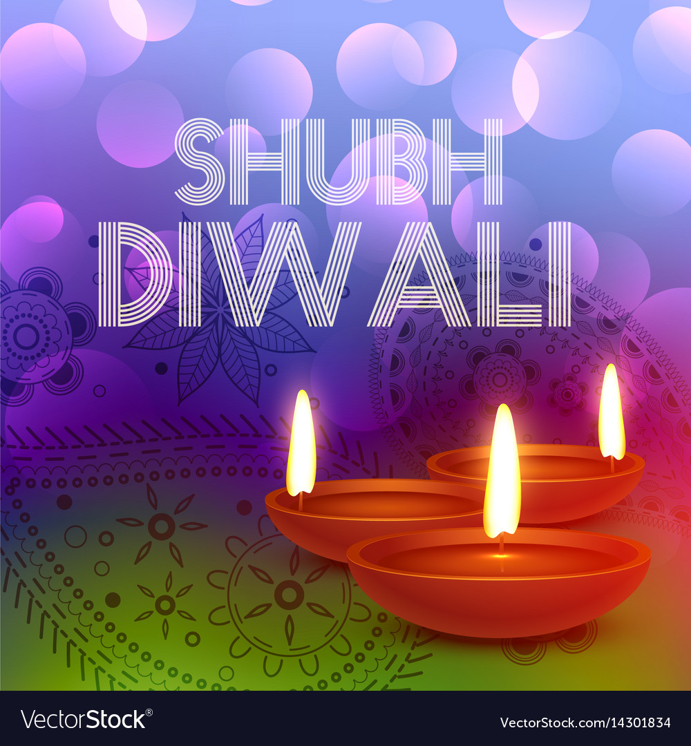 Colorful Happy Diwali Greeting Card Royalty Free Vector