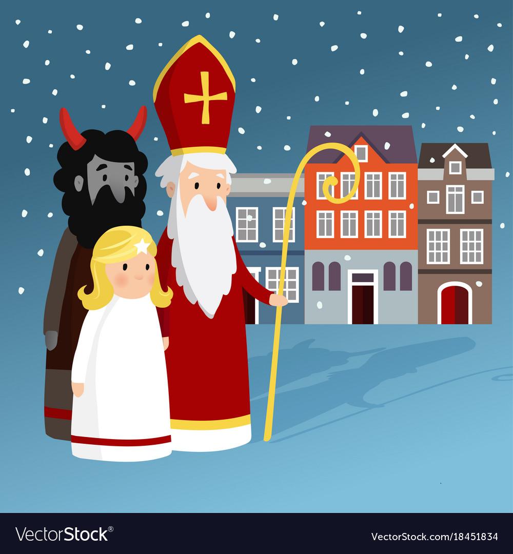 Cute saint nicholas with angel devil old town