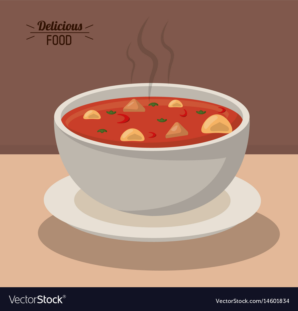 Delicious food bowl soup hot nutrition vegetable