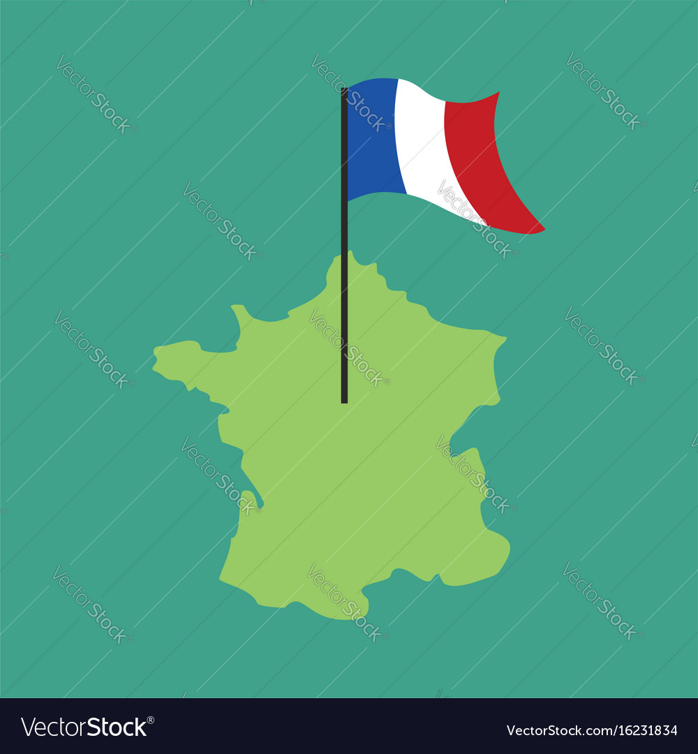 France map and flag french banner and land area