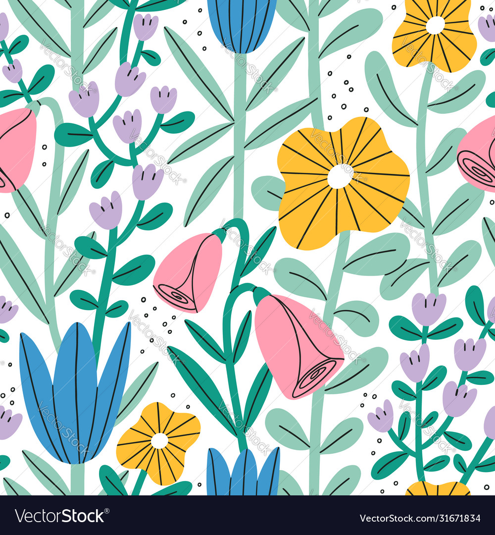 Gentle abstract pastel floral garden seamless