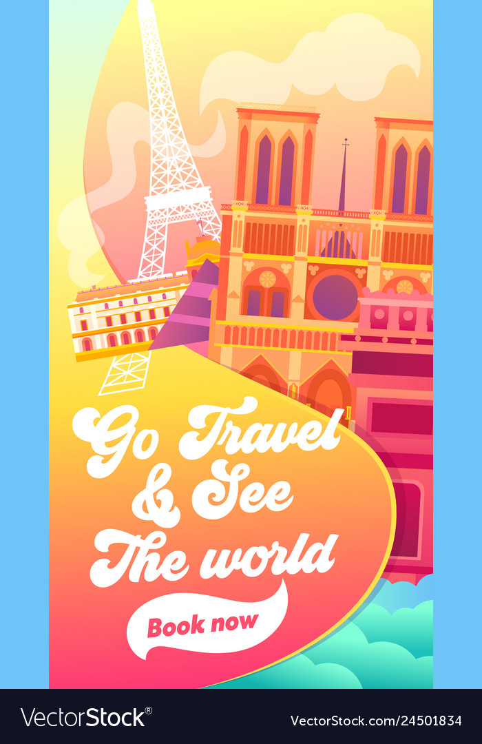 Go travel and see the world typography banner