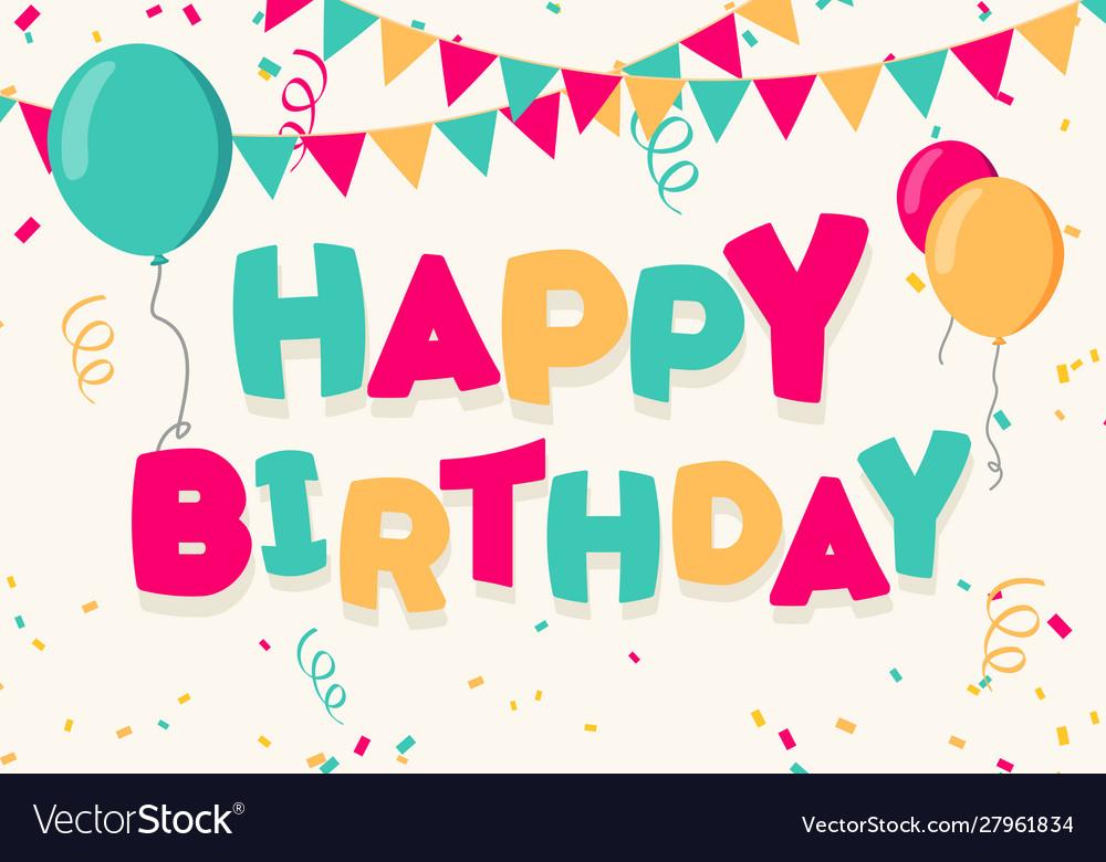 Happy birthday celebration with balloons banner