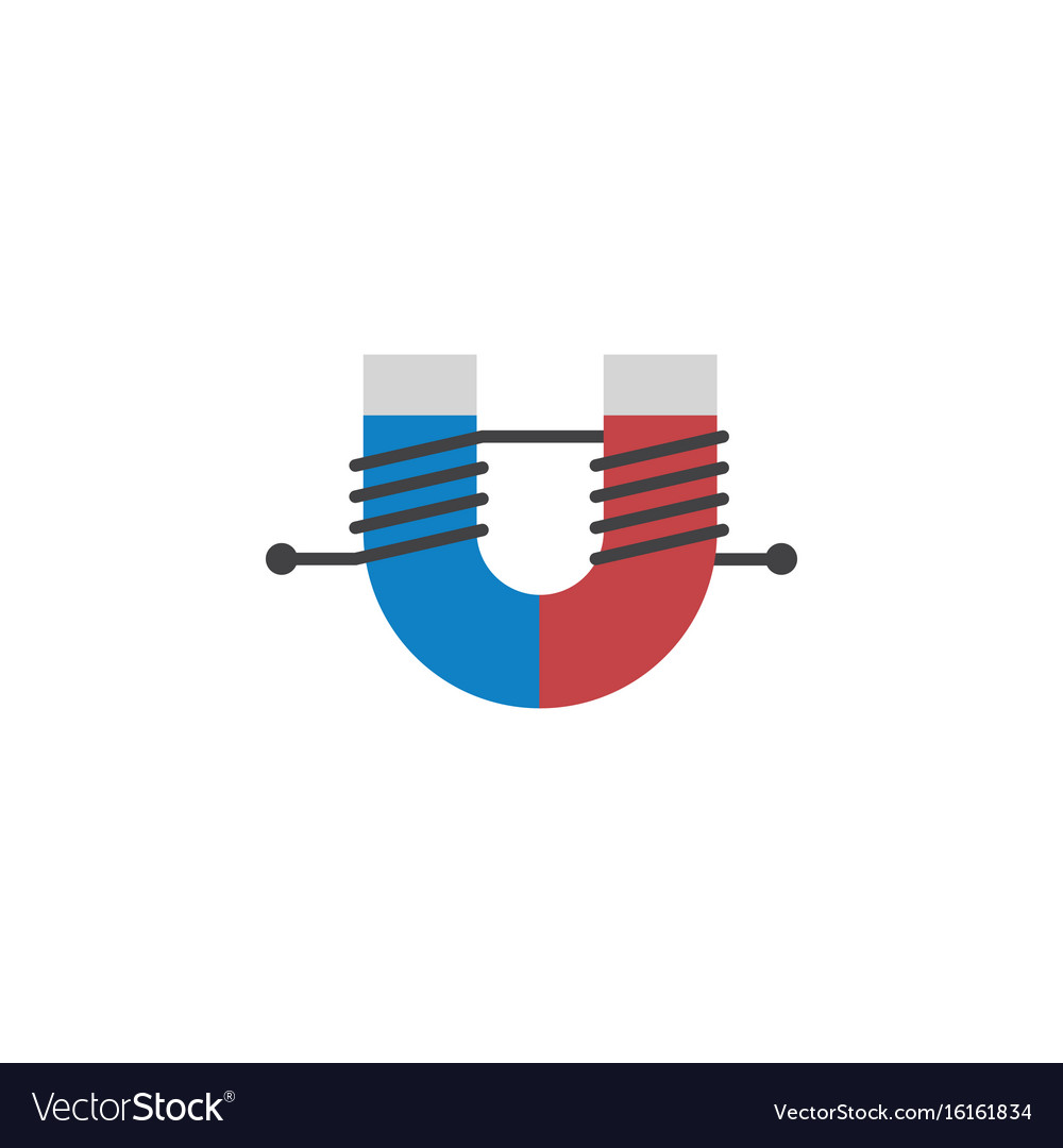 Isolated Magnet Flat Icon Attractive Force Vector Image Diagram