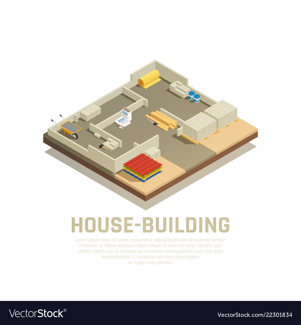 Isometric house building background