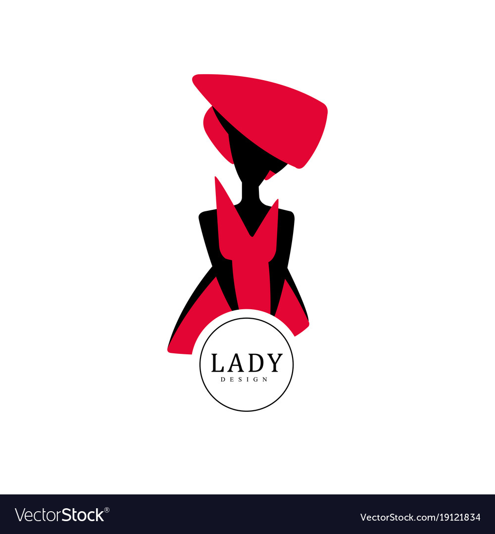 lady design red and black fashion and beauty logo vector image rh vectorstock com red and black logos for 2008 f150 xl red and black logo