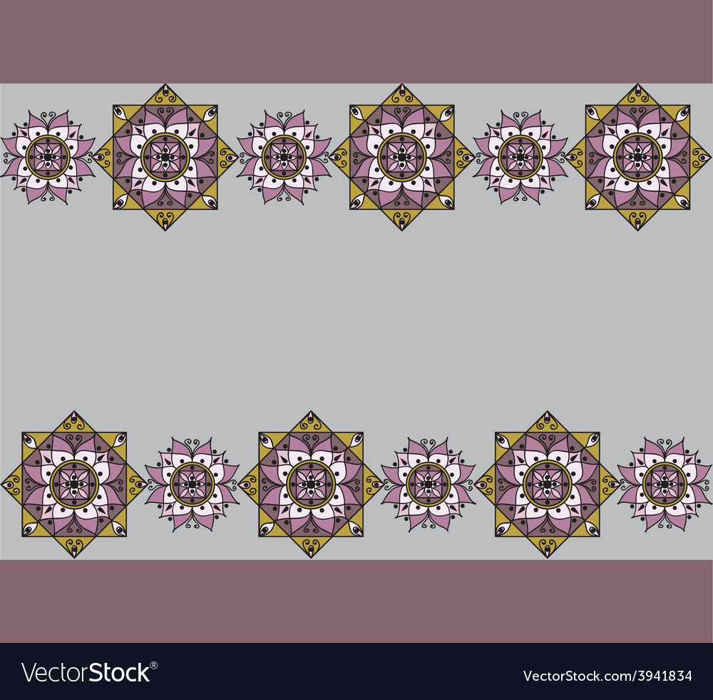 Lilac pattern with mandalas