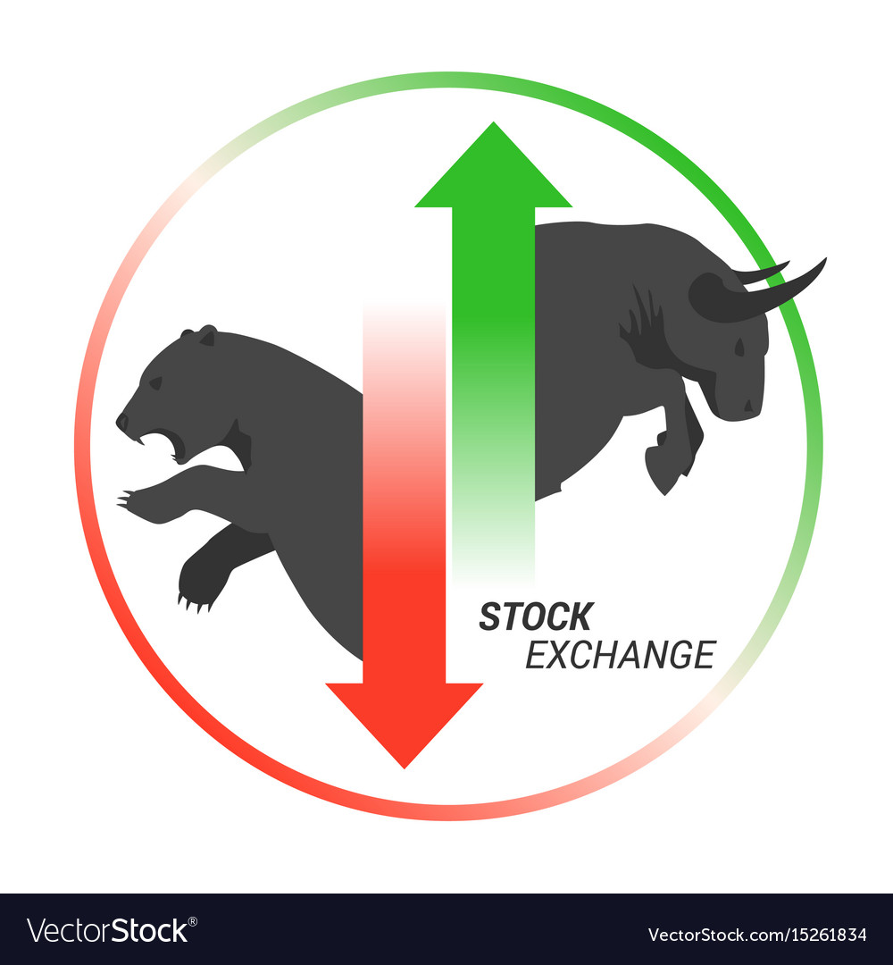 Stock market concept bull vs bear with up and