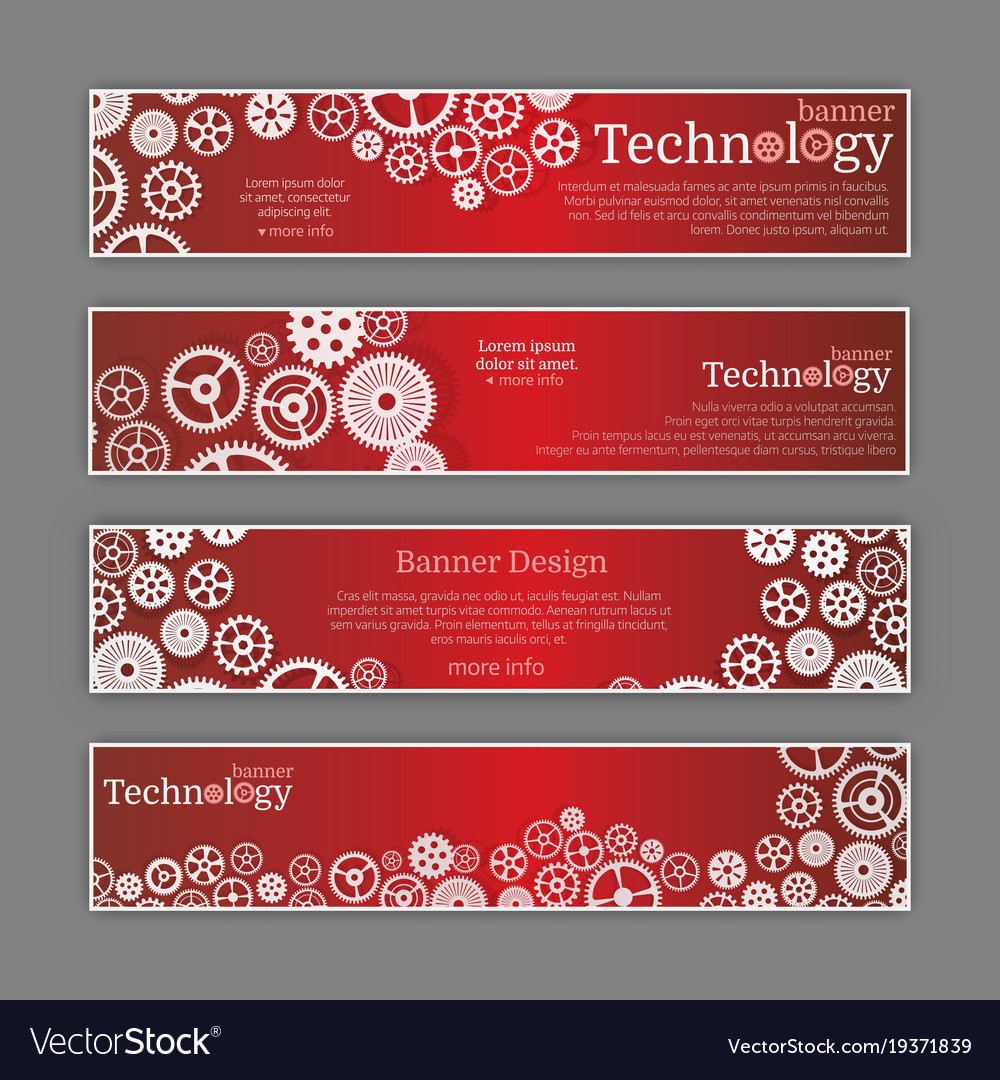 Abstract gear wheel and circuit board banner set