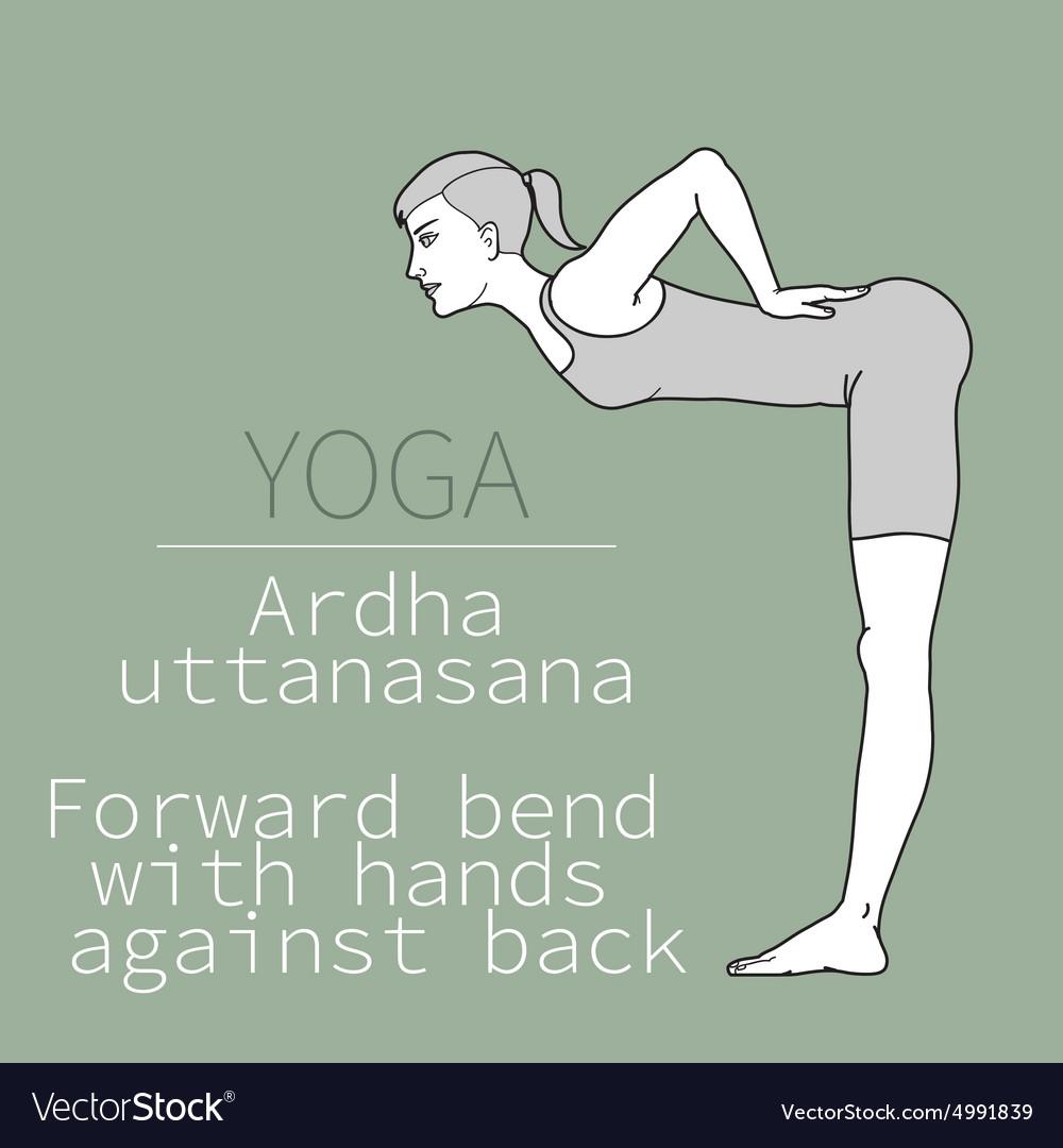 Ardha uttanasana forward bend with hands against